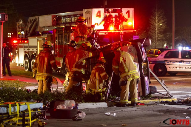 Largo Fire Rescue crews work to free three occupants of Ford Explorer