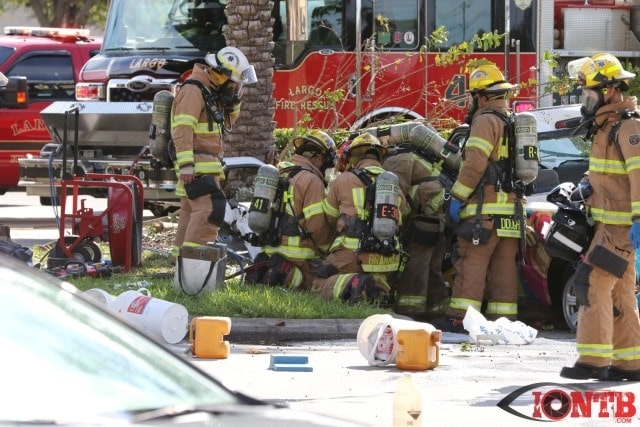 Crews from Largo Fire Rescue work to free the driver