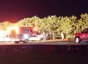 Rescue crews on-scene of car crash at Showtime Speedway