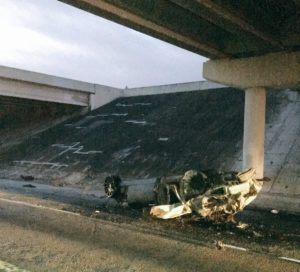 Aftermath of fiery crash that killed three early Sunday morning